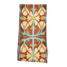 narrow ikat fabric  silk velvet traditional Uzbek pattern