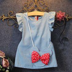 Baby Toddler Denim Minnie Mouse Casual Dress Kids Girl Sleeveless Ruffles Dress #BabyToddlerChina #Casual