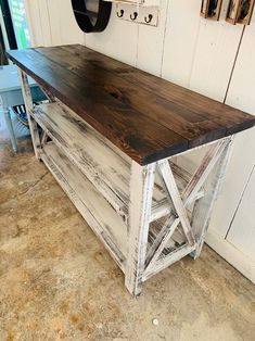 Rustic Wooden Buffet Table, Rustic Console Table, Farmhouse Buffet Table, Distressed White Base and Red Mahogany Top Diy Wood Projects Furniture, Farmhouse Buffet, Rustic Consoles, Diy Pallet Furniture, Farmhouse Console Table, Furniture Projects, Rustic Console Tables, Wood Diy, Furniture Decor