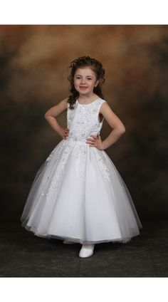 New White Satin Lace Girls Dress First Communion Wedding Easter Formal Party 473