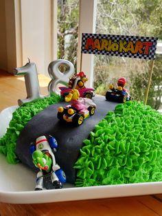 Mario Birthday Cake, Harry Birthday, Super Mario Birthday, 5th Birthday Party Ideas, 8th Birthday, Mario Kart Cake, Mario Bros Cake, Nintendo Cake, Nintendo Party