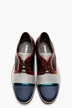 NICHOLAS KIRKWOOD Grey Metallic-trimmed woven Derbys