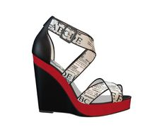 Black and white platform sandal with red accent. I think the black piping on the straps really helps keep the design cohesive, and the red adds some pizzazz. Custom Design Shoes, Red Accents, Platform, Wedges, Black And White, Sandals, Fashion, Moda, Shoes Sandals