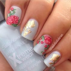 Blue and Gold Rose Nails