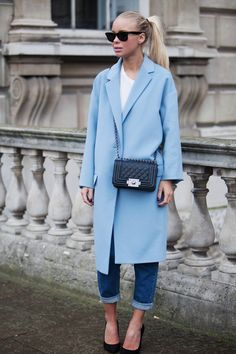 Baby blue oversized coat