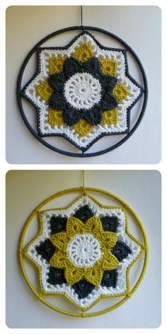 Crochet flower ornaments / dreamcatchers made with Onion Organic Cotton /// Gehaakte bloemen hangers / dromenvangers