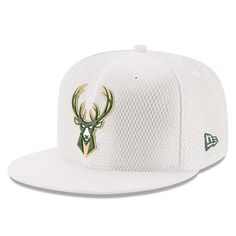 Men s Milwaukee Bucks New Era White 2017 Official On-Court Collection  59FIFTY Fitted Hat 08dcbc09e44