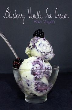 Raw Vegan Blueberry Vanilla Ice Cream: Made with Avocados and Cashews