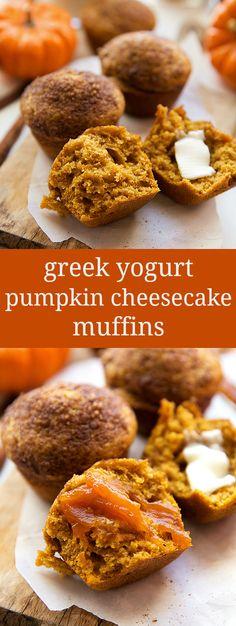 Greek Yogurt Pumpkin Cheesecake Muffins #SnackandSmile