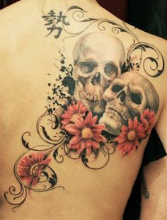 Skull and Flower Tattoo