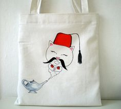 #Wishmaster #Cat #Tote Bag Hand Painted  Tote, #ottoman cat