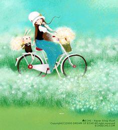 Summertime - Postcard from Santoro London Best Road Bike, Road Bikes, Santoro London, Decoupage, London Art, Pretty Pictures, Cute Drawings, Cute Kids, Photo Art