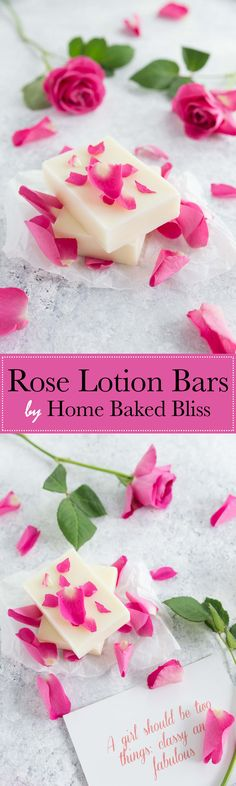 These silky smooth rose lotion bars aren't waxy at all and are incredibly hydrating. Perfect for very dry skin! Make this beauty diy today and enjoy healthy and soft skin. #lotionbars #rose #diy #diybeauty #beauty #roselotionbars | homebakedbliss.com