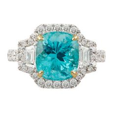 Paraíba Tourmaline and Diamond Ring | Spring Fling: No Reserve Jewels2021 | Sotheby's Cushion Cut, Round Diamonds, Im Not Perfect, Auction, White Gold, Jewels, Gemstones, Spring, Stuff To Buy
