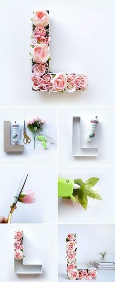 ▷ ideas on how to make a creative wall decoration yourself! wanddeko-selber-machen-fruhlingsdeko-basteln-buchstabe-mit-rosen-dekorieren - Baby Development Tips Diy Wanddekorationen, Fun Diy, Spring Decoration, Diy Crafts To Do, Creative Walls, Creative Decor, Diy Wall Decor, Baby Decor, Letter Wall Decor