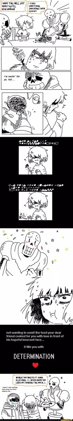 Papyrus, Spaghetti, Frisk, Determination, FoodPoisoning