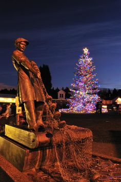 Gig Harbor, WA during the holidays. The tree at Skansie Brothers Park lights up all of downtown throughout each December.
