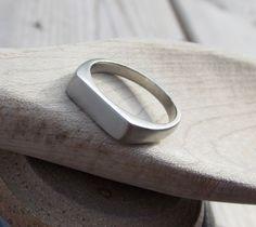 Signet Ring 14k White Gold  Wedding Band by redcatrun on Etsy, $665.00