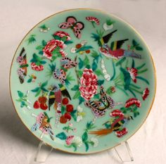 ANTIQUE CHINESE ENAMEL BUTTERFLY CELEDON POTTERY PLATE $149.99