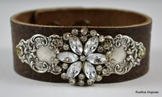 Brown Leather Cuff Bracelet with Silver by RueRueOriginals on Etsy