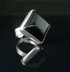 ONYX SILVER RING  20x20 Black Gemstone Statement by StyleCenter, $78.00