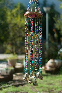 Wind chime – beaded mobile with Brass bells- sun catcher – Bohemian décor- Hippie style décor-garden bells-outdoor hanging decor-suncatcher - BOHEMIAN DECOR Hippie Style, Bead Crafts, Diy And Crafts, Shell Crafts, Cork Crafts, Carillons Diy, Boho Dekor, Estilo Hippy, Diy Wind Chimes