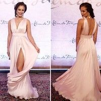 Deep V Neck Side Slit Sleeveless Prom Gowns,New Fshion Lady Red Carpet Dresses from FairyDres Sexy Dresses, Dress Outfits, Evening Dresses, Fashion Dresses, Prom Dresses, Formal Dresses, Summer Bridesmaid Dresses, Bridal Dresses, Vestidos Sexy