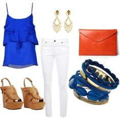 Love the blue and white combo. Don't know if I'd go with a red clutch but it could work...