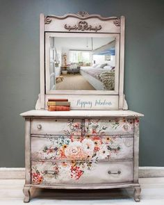 Sold ~Gorgeous Rose Celebration tilt mirror Antique Dresser