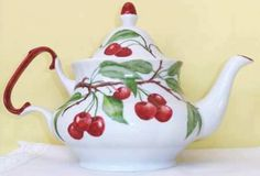 Porcelain china teapot hand-painted with red cherries and a red handle