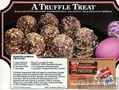 Ad with chocolate truffles recipe