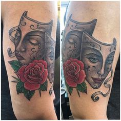 Mini Tattoos, Rose Tattoos, Laugh Now Cry Later, Coil Tattoo Machine, Catrina Tattoo, Drama Masks, True Tattoo, Girls With Sleeve Tattoos, Latest Tattoos