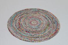 Tapis rond tissé main plat en coton muliticolore blanc Circle