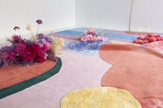 Poppykalas X Layered at 3daysofdesign 2019 in Copenhagen, lighting by Nuura Lighting #artinstallation #bespokerugs | contemporary rug | exclusive rugs | rug installation | art installation | design installation | set design | set decor | floral decor | floral design | vegetal design | colorful walls | colorful interior | modern rug | colorful rug | rug for living room | rug for bedroom | patterned rug | design florist | Danish florist Poppykalas | Danish rugs | colorful design decor | home…