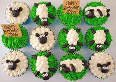 Shaun the sheep cupcakes - make with chocolate head Sheep Cupcakes, Kid Cupcakes, Birthday Cupcakes, Cupcake Cakes, Lamb Cupcakes, Farm Animal Cupcakes, Muffins Decorados, Aid Adha, Shaun The Sheep Cake