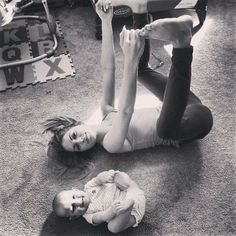 Mommy and baby. Yoga.