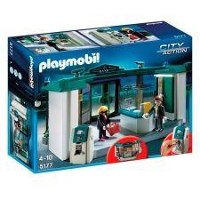 Del catálogo de escenarios #Playmobil llega el banco con caja fuerte que te incluye dos figuras, el ladrón y el trabajador de banco y muchos accesorios para escenificar divertidas historias.