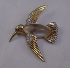 "1940s Trifari ""Jelly Belly"" Hummingbird Pin Sterling Silver Vermeil | eBay"