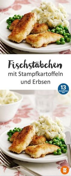 Fischstäbchen mit Stampfkartoffeln und Erbsen | 4 Portionen, 13 SmartPoints/Portion, Weight Watchers, fertig in 50 min. (Grilled Salmon Recipes)