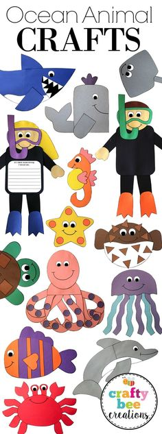Huge Ocean themed craft bundle includes patterns and directions to make each animal. Just copy onto construction paper, cut, and glue!