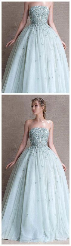 A-LINE BALL GOWN CHIC STRAPLESS BLUE TULLE APPLIQUE LONG PROM DRESS EVENING DRESS AM145