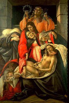 """A obra """"A Lamentação"""" é uma Têmpera sobre madeira de 107 cm x 71 cm pintada por Sandro Botticelli por volta de 1495, a regra de representação dessa obra é a Técnica da Perspectiva (Profundidade)."""