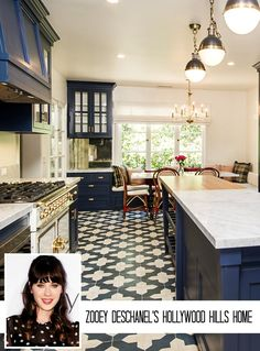 """""""New Girl"""" Zooey Deschanel Selling 1930s Ranch (with fabulous blue kitchen) in Hollywood Hills"""