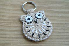 Crochet owl keychain in beige white and black hand by MikiJensen, $18.00