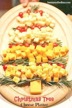 Christmas Tree Cheese Platter idea @beautyandbedlam.com by jannyshere