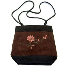 Suede Shoulder Bag - Brown