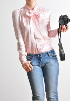 Baby Pink Polka Dots Jacquard Pure Silk Satin Puffy Sleeves Tied Bow Blouse Shirt. $189.90, via Etsy.