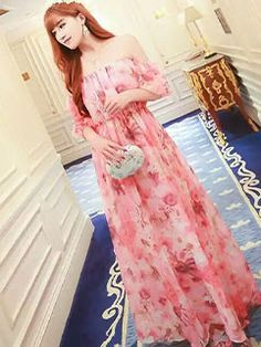 New Collection Women Floral Chiffon Maxi Dresses