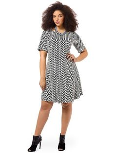 Chevron Printed Dress by Taylor Dresses, Available in sizes 14W/16W,18W/20W/22W and 24W