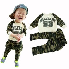 Spring&Autumn baby boy sport clothing set military army t-shirt pants baby boys clothes suits  children tracksuits free shipping
